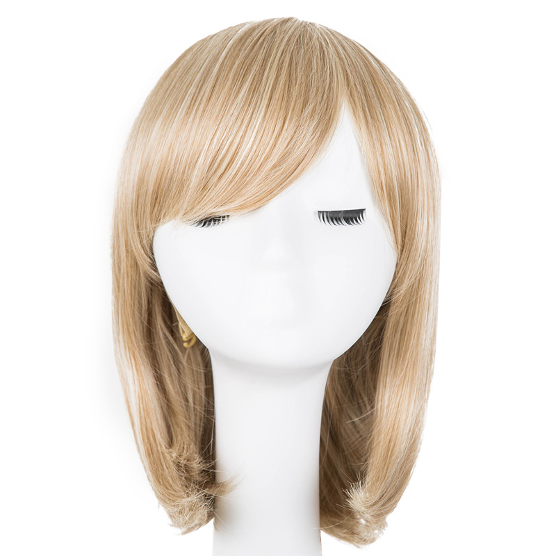 Hair Extensions & Wigs Fei-show Synthetic Heat Resistant Medium Yellow Blonde Wavy Wig Inclined Bangs Hair Costume Cosplay Carnival Halloween Hairpiece