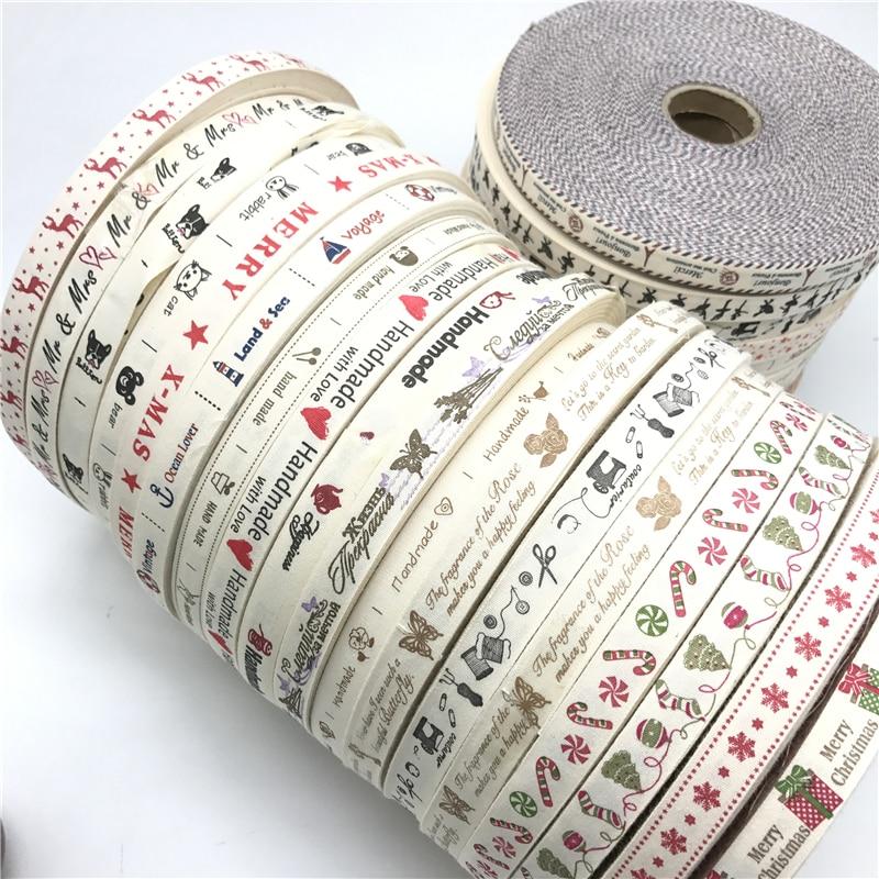 HTB1CcnUCSBYBeNjy0Feq6znmFXav 5 Yards/lot 15mm Cotton Ribbon Handmade Design Printed Cotton Ribbons For Wedding Christmas Decoration DIY Sewing Fabric