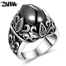 ZABRA 925 Silver Man Rings Vintage Anchor Flower Red Black Stone Ring Male Cubic Zirconia Ring Female Sterling Biker Jewelry