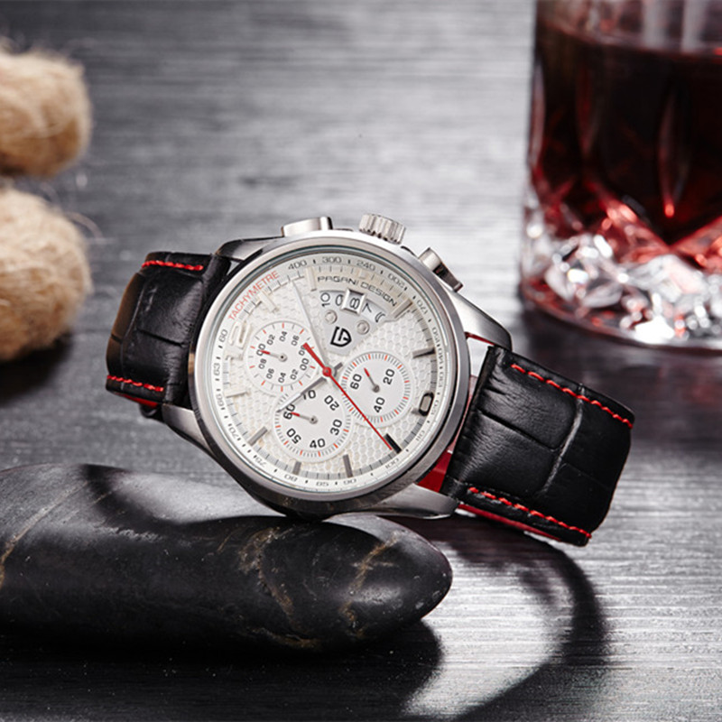 PAGANI DESIGN Quartz Chronograph Watch Mens Watches Top Brand Luxury Leather Strap Sport Wristwatches for Men Clock 2018 relogio