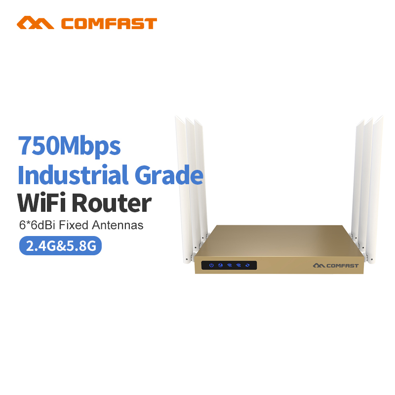 COMFAST CF-WR635AC 750Mbps 2.4G + 5.8G wireless wifi router 6*6dBI antennas signal booster 802.11 ac wi-fi signal amplifier rout comfast ac200 orange os system full gigabit wifi control ac gateway routing wireless roaming wifi coverage project manager route