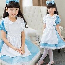 4096b9725007d Enfants fille bleu alice au pays des merveilles halloween costume pour enfants  fête lolita robe de chambre cosplay fantaisie car.