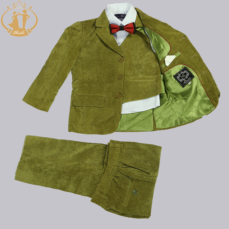 Nimble Boys Suits for Weddings Kids Blazer Green Boys Prom Suits Children's Blazer Suit for Boy Jogging Garcon 3 Pcs/set blazer georgede blazer