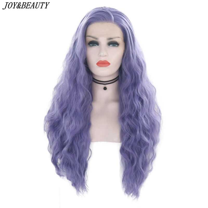Joy & Kecantikan 26 Cm Ungu Renda Sintetis Depan Wig Panjang Keriting Keriting Cosplay Wig Tahan Panas Serat untuk Hitam putih Wanita Wig