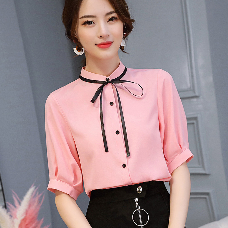 Women's Clothing Korean Style Streetwear Bow Ties Chiffon Blouse Plus Size Womens Tops And Blouses 2019 Ol Fashion Long Sleeve Blouse Ladies Tops