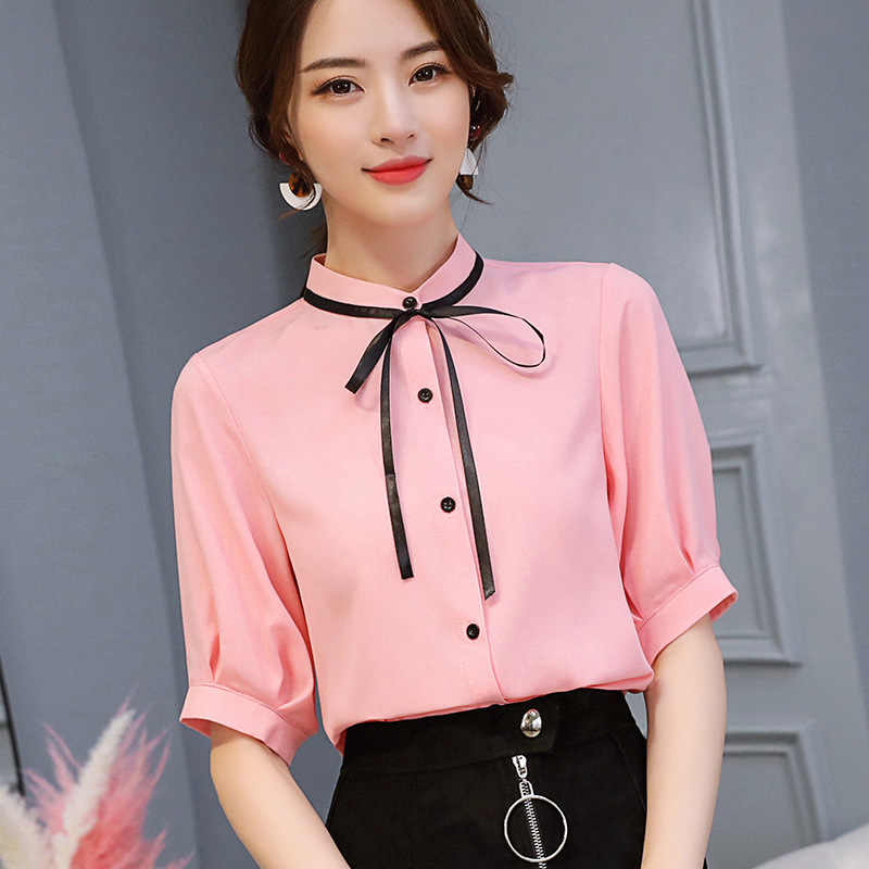 1aa1c7732ed ... Spring Summer Blouse Women Shirts Pink Bodycon Bow Tie Half Sleeve  Office Work Top Streetwear Slim