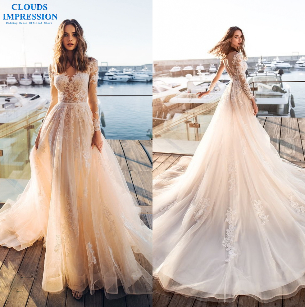 CLOUDS IMPRESSION A Line Wedding Dress 2019 Long Sleeves Robe De Marriage Lace Tulle Bride Gowns