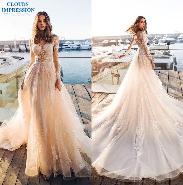 NUVENS IMPRESSÃO A Linha de Vestido de Noiva 2019 Mangas Compridas Robe De Casamento Do Laço de Tule Vestidos de Noiva Vestígio De Noiva Plus Size