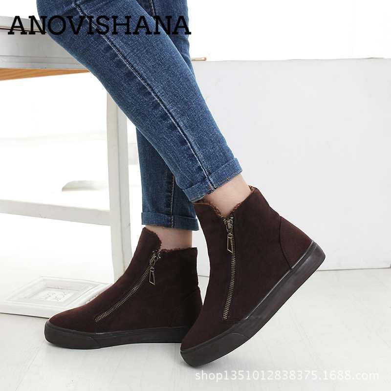 28878d81f372 Chaudes Nouvelles Zapatillas H306 brown Toile Femmes En Chaussures red Neige  Zpatos Peluche Mujer D hiver blue Anovishana Cheville Bottes ...