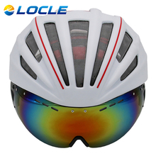 LOCLE Double Layers In-mold Cycling Helmet With Glasses Goggles Bicycle Helmet 280g Casco Ciclismo Bike Helmet 28 Air Vents