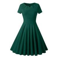 Women S Vintage Dresses 2018 New Spring Summer Fall Burgundy Plain Elegant V Neck Green Short