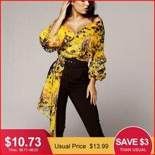 8e6b98d78 Glamaker مثير بوهو الأصفر طباعة بلوزة شيفون قميص المرأة طويلة الأكمام  الخامس الرقبة أنيقة الصيف قمم