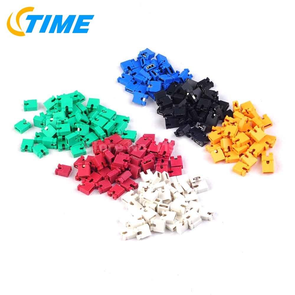 Free Shipping!!  600pcs 6 Color Each Color 100 PCS 2.54mm Standard Circuit Board Jumper Cap Shunts Short Circuit Cap