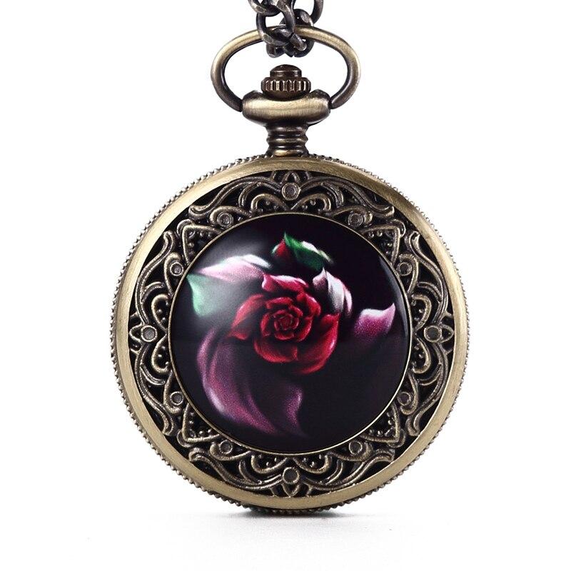 GORBEN Vintage Retro Rose Flower Roman Numbers Dial Bronze Quartz Pocket Watches Pendant Necklace Fob Chain Women Lady Girl Gift