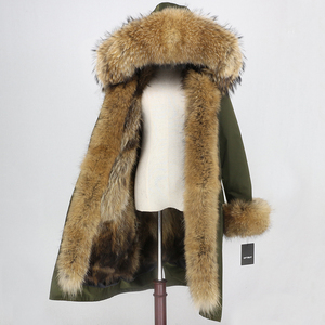 Image 3 - OFTBUY x ロングパーカー防水生地冬のジャケットの女性本物の毛皮のコート毛皮の襟フードキツネの毛皮ライナー着脱式