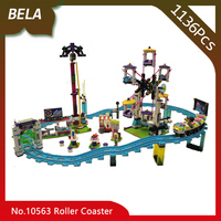 1136pcs Friends Series Amusement Park Roller Coaster Model Building Blocks Toys Compatible with Legoings 41130 Christmas gift