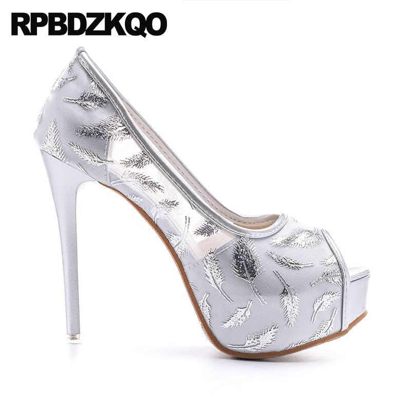 ... Silver Stiletto Super Prom Platform Fetish Party Shoes 14cm Women High  Heels Sandals Pumps Cheap Peep 6b8d059d1e