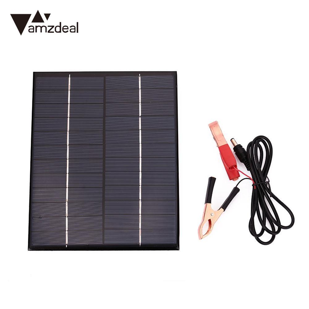 Amzdeal DC 12V 5.5W Polysilicon Solar Panel Supply Battery Board Waterproof Boat Motorcycles Outdoor Charger Solar Cells