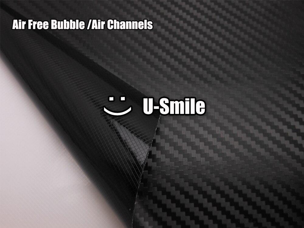 Excellente feuille de Film d'enveloppe de vinyle de Fiber de carbone du noir 3D de grande Texture sans bulle pour le papier d'emballage de voiture - 4