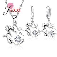 JEXXI Teapot Design CZ 925 Sterling Silver Women Fashion Jewelry Clear Crystal Pendant Necklace Earrings Hot Sale