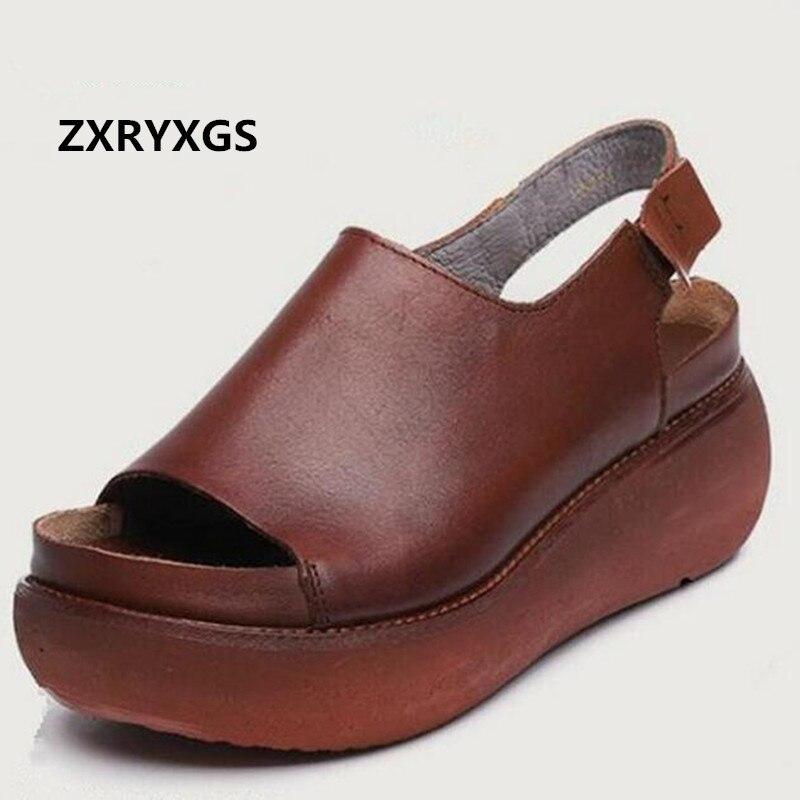 ZXRYXGS marque chaussures été femmes chaussures plate-forme sandales 2019 nouvelles cales décontracté augmenter vache en cuir chaussures femme mode sandales