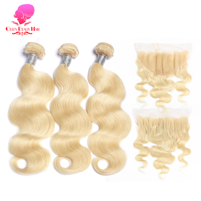 QUEEN BEAUTY 13x6 Ear To Ear Lace Frontal Closure With 2/3/4 Bundles 613 Blonde Brazilian Body Wave Remy Human Hair Extensions