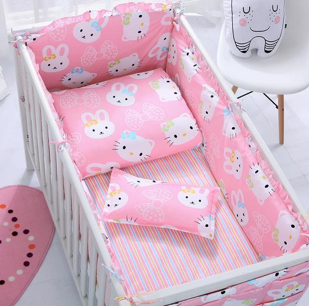 6 unids/set algodón baby bedding sets patrón de dibujos animados bebé cama alrededor del cordón desmontable parachoques cuna hojas funda de almohada bedding