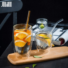 JOUDOO Double Layers Transparent Glass Coffee Tea Cups 80ML 250ML 350ML 450ML Heat Resistant Handmade Exquisite Mug Cup 35