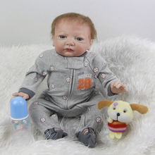 20 Inch 50 cm Realistic Reborn Baby Dolls Silicone Newborn Boy Lifelike Babies Doll With Blue Eyes Kids Birthday Xmas Gift