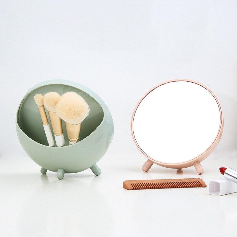 Organizador de maquillaje de plástico con espejo para caja de hisopos de joyería estuche de brocha de maquillaje cosmético soporte de lápiz labial para baño Almacenamiento de esmalte de uñas Mini inclinómetro Digital de 360 grados caja de nivel electrónico herramientas de medición de Base magnética