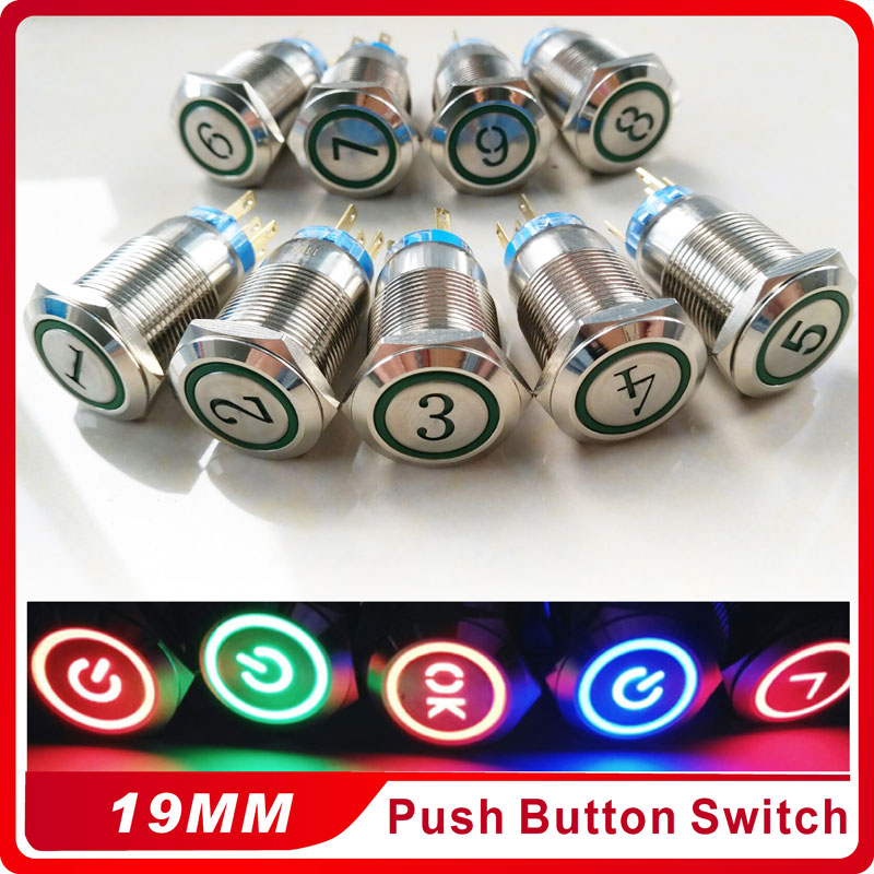 <font><b>19mm</b></font> Metal Number Symbol Momentary Push Button <font><b>Switch</b></font> <font><b>LED</b></font> 3V5V 12V 24V 220V StainlessLess Steel Waterproof image
