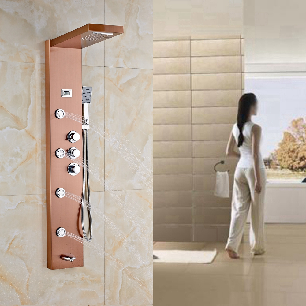 Rose Gold Thermostatic Shower Column Jets Tub Faucet Hand Shower ...
