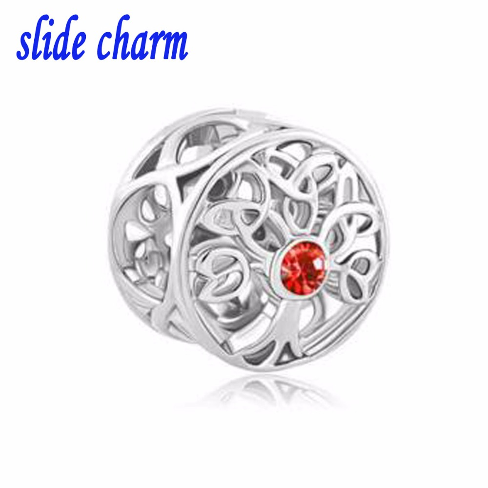 slide charm Free shipping Fit Pandora charm bracelets Orange crystal life tree charm bracelet beads Beads for jewelry making
