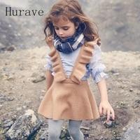 Hurave Autumn 2017 Girls Dress Girl Clothing Knit Sweater Kids For Girl Robe Fille Kids Clothing
