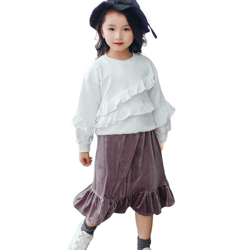 04e07e248efc ... velvet long skirt for 3- 10 yrs girls 2019 spring kids clothes fashion  shine school ...