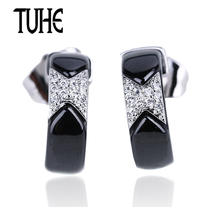 TUHE New U Shaped Stud Earrings Black Ceramic With Shining Rhinestone Silver Metal Earrings For Women Wedding Engagement Jewelry pair of stylish rhinestone triangle stud earrings for women