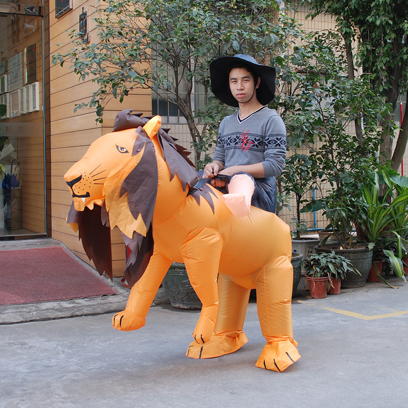 INFLATABLE LION FANCY DRESS COSTUME SAFARI HEN STAG OUTFIT kigurumi Halloween Costume for Women Men Inflatable