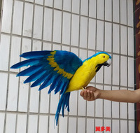 Cute Simulation Blue Yellow Parrot Toy Plastic Furs Macaw Bird Doll Gift About 60x40cm