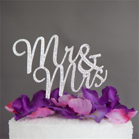 Casamento Srebrny Pan i Pani Wedding Cake Topper Tort Weselny Topo De Bolo Stań Dekoracje Centerpieces