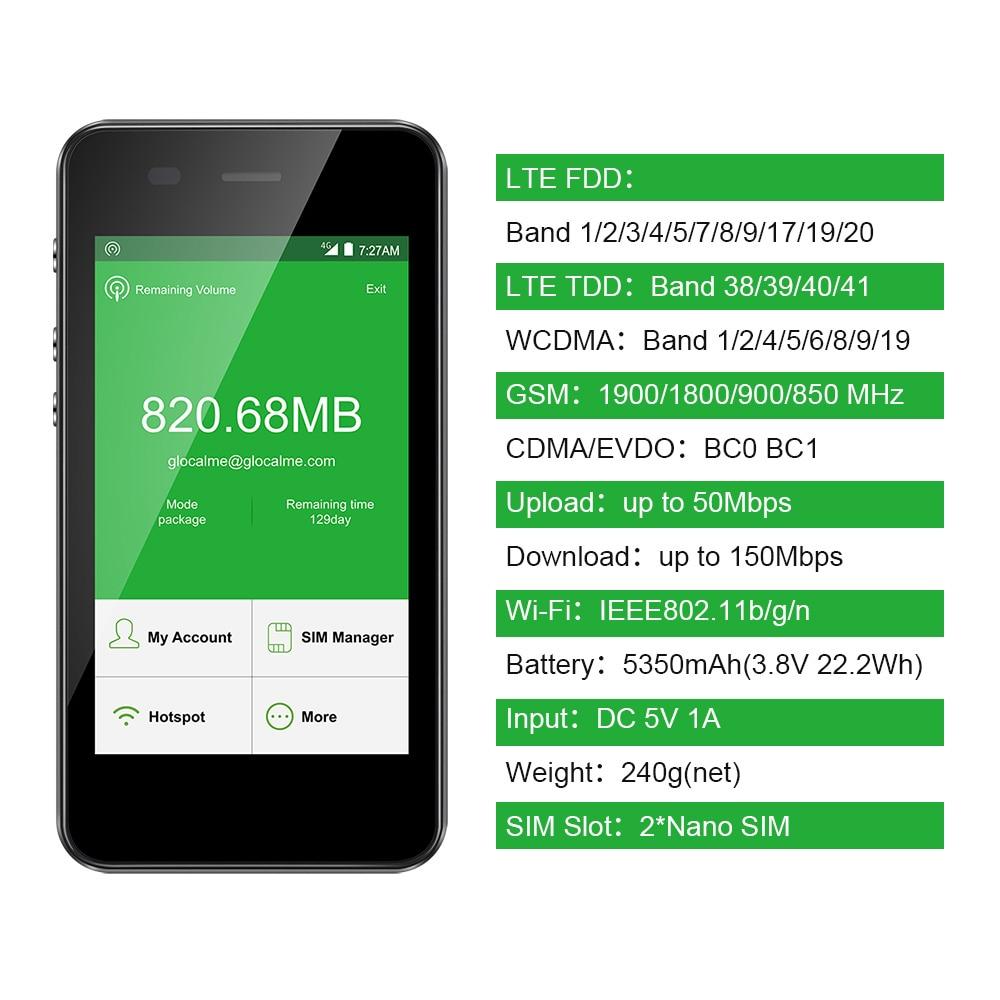 GlocalMe G3 4G LTE Freigesetzter Handy WIFI Hotspot Weltweit Hoher Geschwindigkeit Keine SIM Kein Roaming Gebühr Tasche WIFI