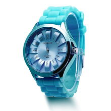Silicone Jelly Band Flower Dial Sports Style Watch Men Womens Quartz Wrist Watches 2018 mint green color jelly quartz watch silicone