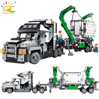 1202PCS Container Truck Vehicles Car Building Blocks Compatible legoingly Technic Car DIY Bricks Educational Toys for Children