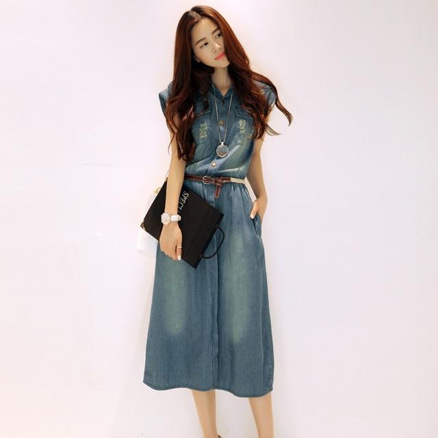 2018 Hot Plus Size Denim Dresses Women Vintage Slim Summer Dress