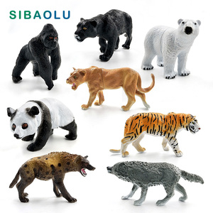 Chimpancé, Tigre, León Negro, leopardo, oso, Lobo, Panda, Hyena, Animal, modelo de figura, decoración del hogar, accesorios de decoración de jardín de hadas