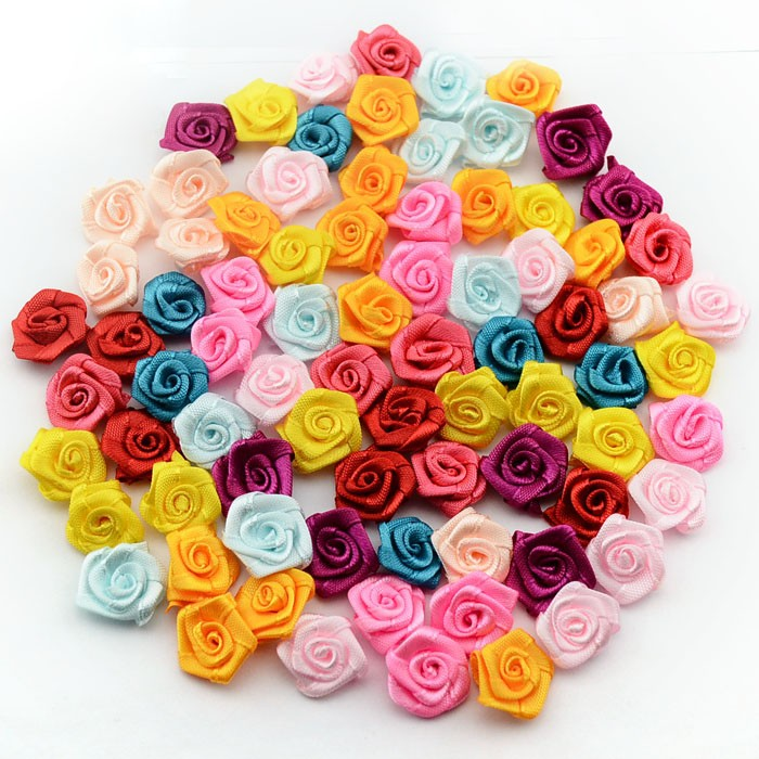 480 pcs//lot Handmade 15mm Satin Rose Ribbon Rosettes Fabric Flower DIY Home