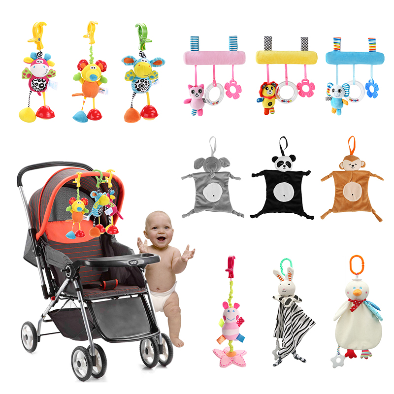 Baby Rattles Bell Toys Mobile Soft Cartoon Plush Animal Clip Rattles Crib Bed Stroller Hanging Dolls Toys For Newborn Baby