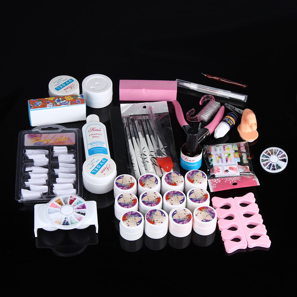 Hot Pro Full 36W White Cure Lamp Dryer + 12 Color UV Gel Nail Art Tools Set Kit nail art decorations Q70818 2017 hot pro full 36w white cure lamp dryer 12 color uv gel nail art tools set kit