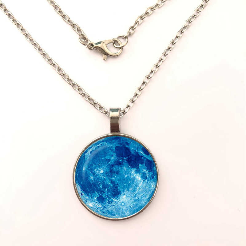 GDRGYB 2019 / hot sale, blue moon full moon necklace glass photo blue outer space. Star necklace jewelry