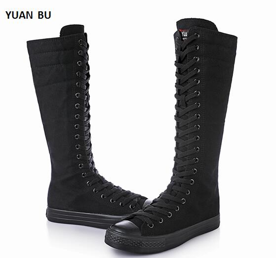 Women Boots 2018 Spring High Long Tube Cheerleaders Dance Shoes Front Tie Side Zipper Canvas Casual Female Flat with ShoesWomen Boots 2018 Spring High Long Tube Cheerleaders Dance Shoes Front Tie Side Zipper Canvas Casual Female Flat with Shoes