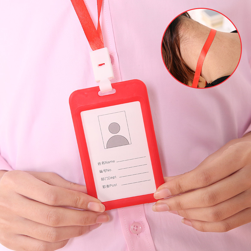 1PCS Women Men Credit Card Holder Wallet Unisex Bank Vertical ID Identity Badge Card Bag With String Company Office Supplies